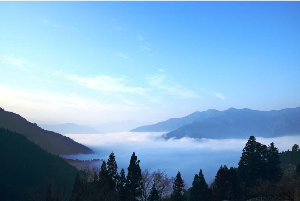 「吾橋・雲海展望台」からは、立ち昇った霧が海のように見える雲海を鑑賞できる。日の出から朝7時半頃までが見頃の時間帯