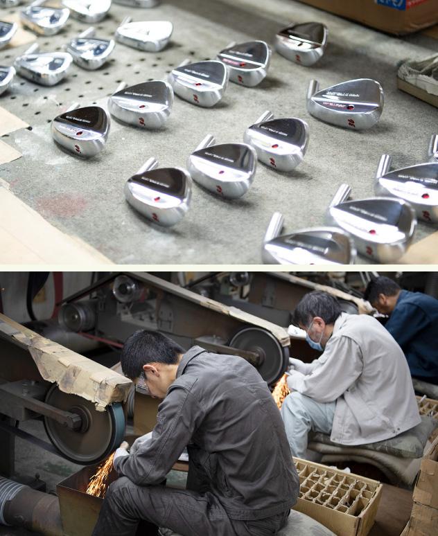 共栄ゴルフではホーゼルからヘッドまでが一体型の軟鉄鍛造フォージドアイアンを製造している