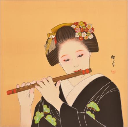 4枚の舞妓の画は四神(青龍、白虎、朱雀、玄武)の横にそれぞれ描かれている