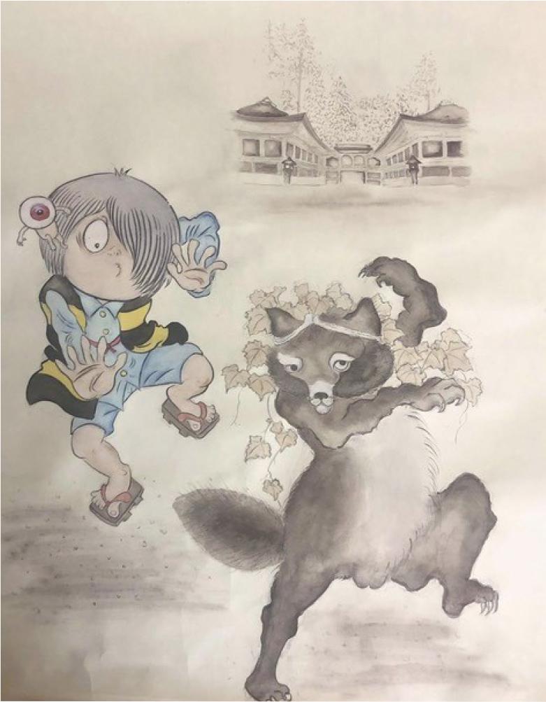 「一文字狸」の伝説をモチーフに描かれた鬼太郎と延暦寺に伝わる大狸