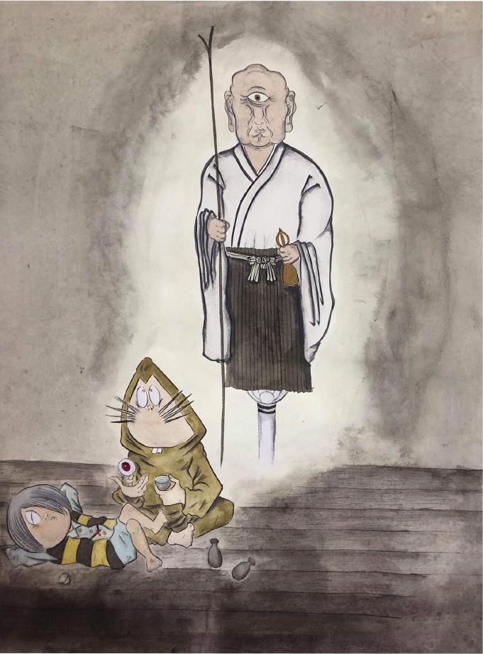 厳しい戒律を守るために幽霊になった慈忍和尚の姿と鬼太郎たちが描かれた「一つ目僧」