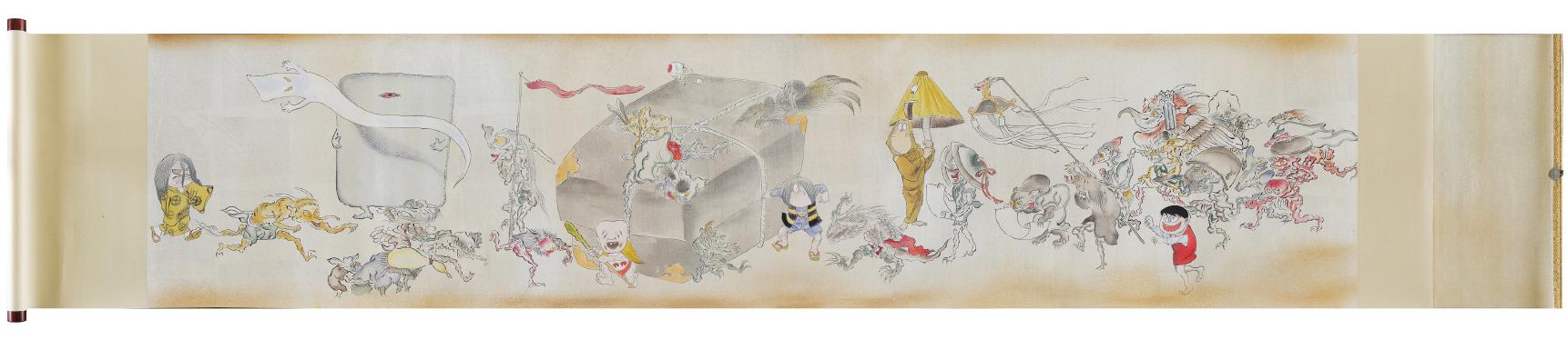 比叡山延暦寺にまつわる妖怪と『ゲゲゲの鬼太郎』のキャラクターたちが描かれた絵巻物