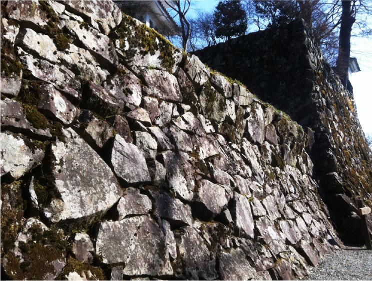 城の石垣は野面積(のづらづみ)という古い積み方