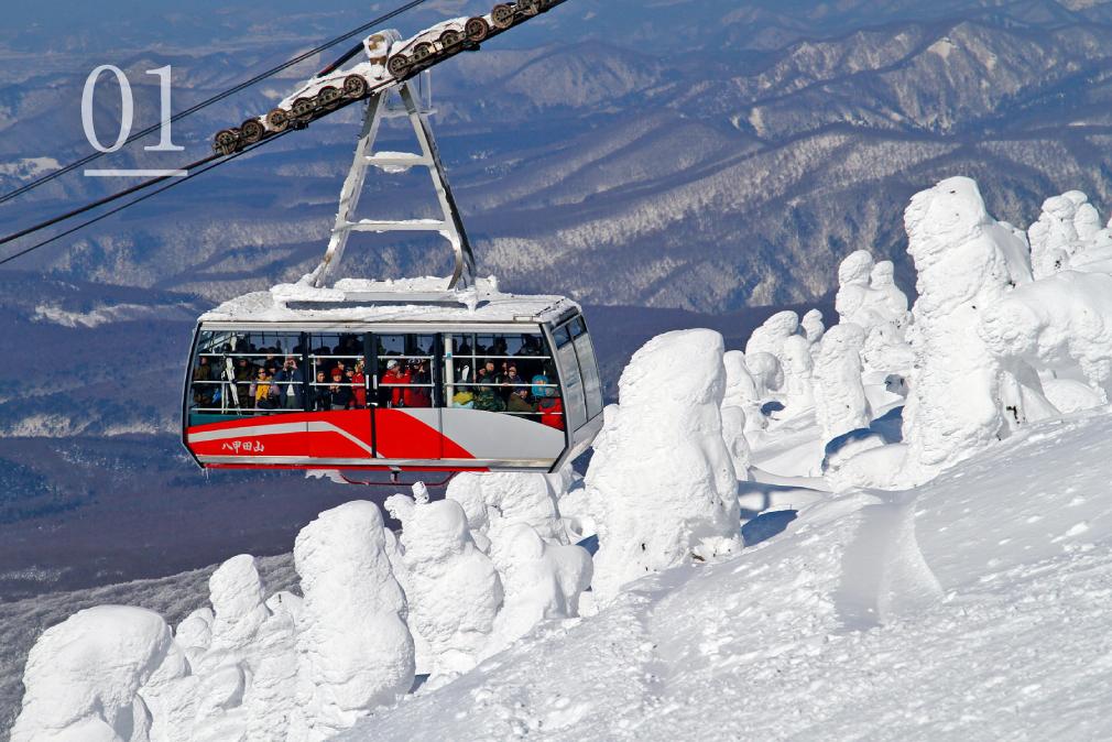 八甲田ロープウェイに乗り、樹氷を観賞