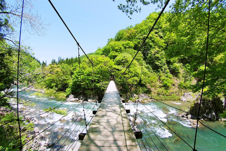 中津川渓谷を彩る天然木の吊り橋